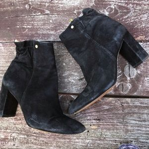 Louise et cle black suede block heel ankle boots